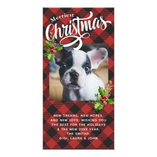 Tarjeta roja de la foto del navidad de la tela