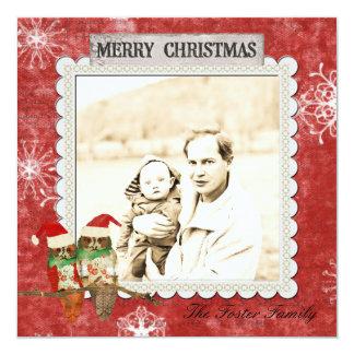 Tarjeta roja de la foto del navidad de los búhos invitación 13,3 cm x 13,3cm