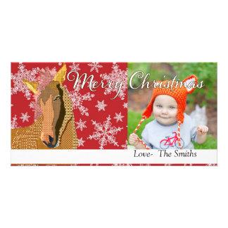 Tarjeta roja de la foto del navidad de Zorse del v Tarjeta Personal