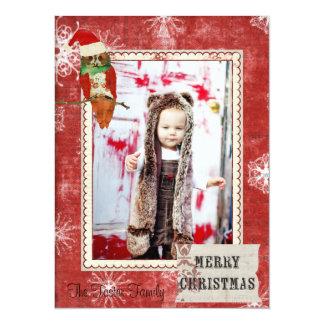 Tarjeta roja de la foto del navidad del búho color invitación 13,9 x 19,0 cm