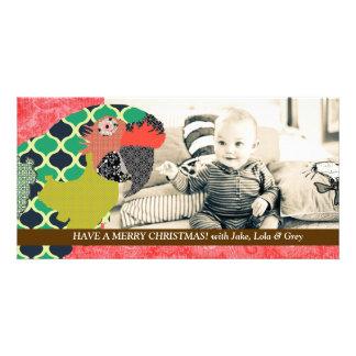 Tarjeta roja de la foto del navidad del Macaw de M Tarjetas Con Fotos Personalizadas