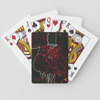 Tarjeta roja de la lámpara del pétalo color de baraja de cartas