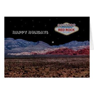 Tarjeta roja de la noche de la roca buenas fiestas