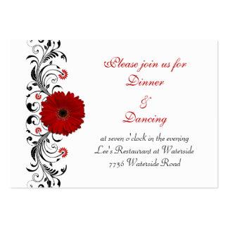 Tarjeta roja de la recepción de la margarita del tarjetas de visita grandes