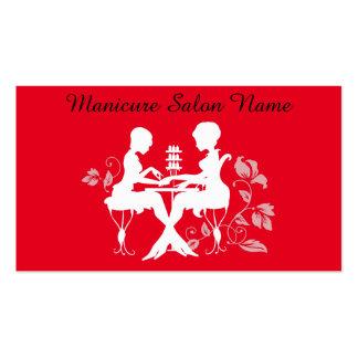 Tarjeta roja de la silueta de la profesión del tarjetas de visita