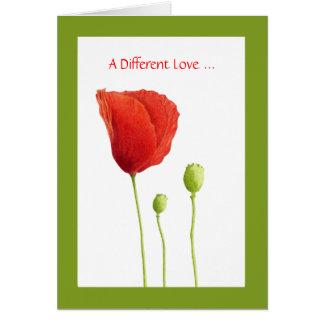 Tarjeta roja del amor de la amapola