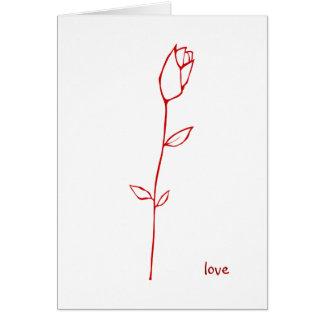 Tarjeta roja del amor del capullo de rosa