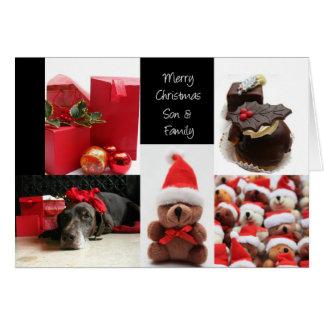 Tarjeta roja del collage del navidad del hijo y de