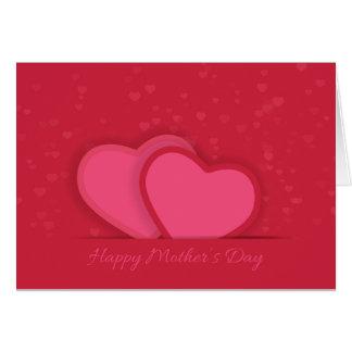 Tarjeta roja del día de madre de los corazones