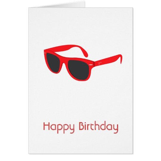 Tarjeta roja del feliz cumpleaños de las gafas de