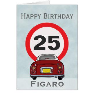 Tarjeta roja del feliz cumpleaños del coche de