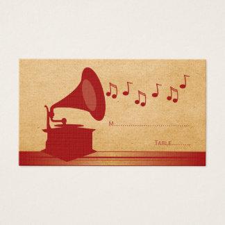 Tarjeta roja del lugar del gramófono del vintage