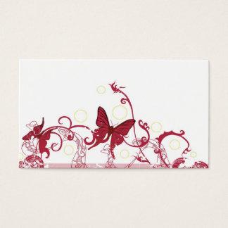 Tarjeta roja del perfil de las mariposas