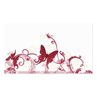 Tarjeta roja del perfil de las mariposas plantilla de tarjeta de visita