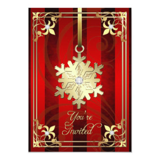 Tarjeta roja dorada del día de fiesta del copo de invitación personalizada