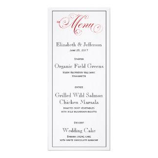 Tarjeta roja elaborada del menú del boda