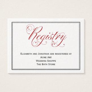 Tarjeta roja elaborada del registro del boda de la
