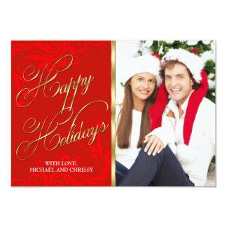 Tarjeta roja elegante de la foto del navidad del invitación 12,7 x 17,8 cm