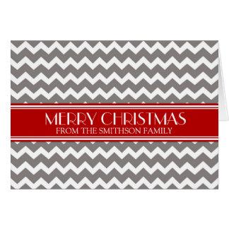 Tarjeta roja gris de las Felices Navidad de Chevro