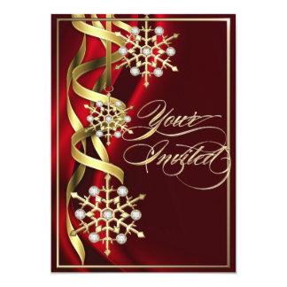Tarjeta roja Jeweled del día de fiesta del copo de Comunicados