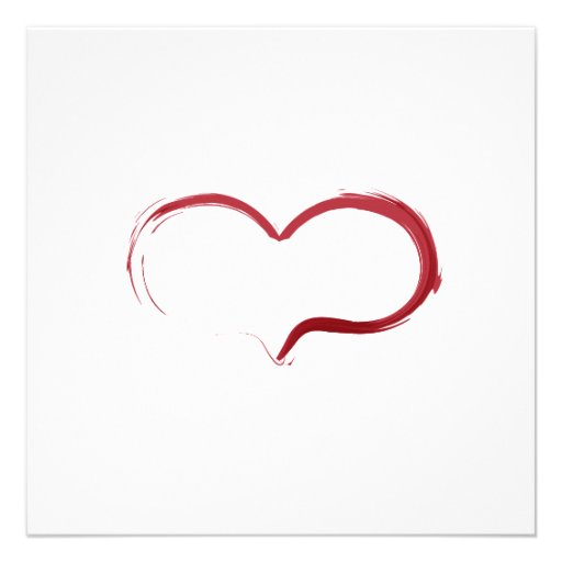 Tarjeta roja minimalista de la caligrafía del cora comunicado personalizado