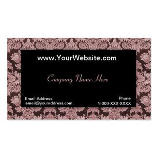Tarjeta roja neutral negra del perfil del damasco plantilla de tarjeta de visita
