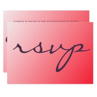 Tarjeta roja única moderna y minimalista de RSVP Invitación 8,9 X 12,7 Cm