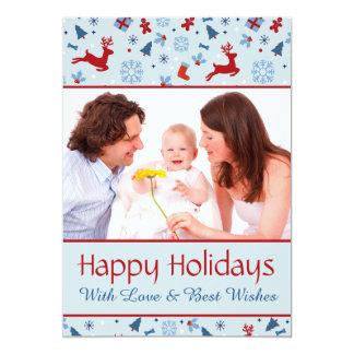 Tarjeta roja y azul festiva de la foto del navidad invitación 12,7 x 17,8 cm