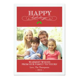 Tarjeta roja y blanca de la foto del día de fiesta invitación 12,7 x 17,8 cm