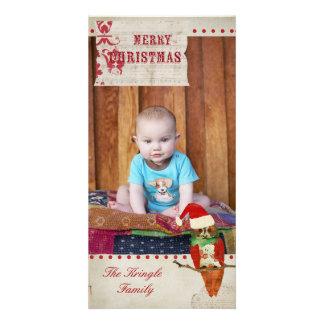 Tarjeta roja y de marfil del búho color de rosa de tarjeta con foto personalizada