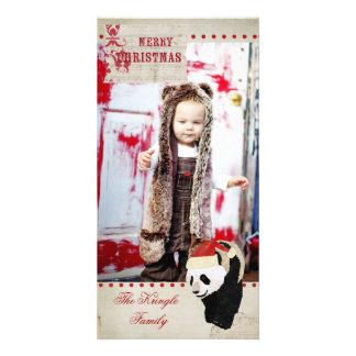 Tarjeta roja y de marfil del oso de panda del navi tarjetas con fotos personalizadas