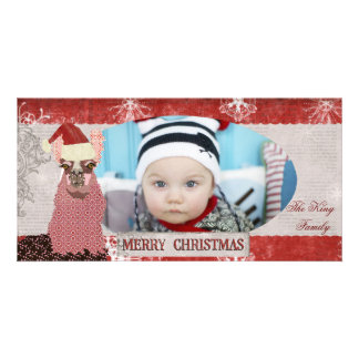 Tarjeta roja y de plata de la llama del navidad de tarjeta con foto personalizada