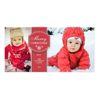 Tarjeta roja y del blanco elegante 2 de la foto de plantilla para tarjeta de foto
