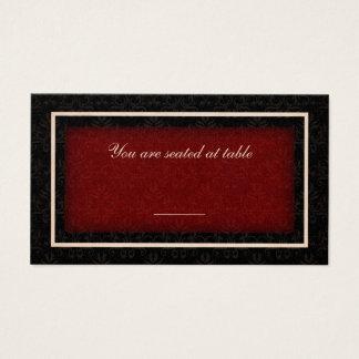 Tarjeta roja y negra del asiento de la tabla del