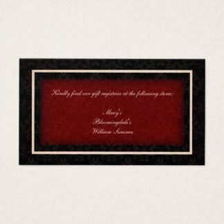 Tarjeta roja y negra del registro de regalos del