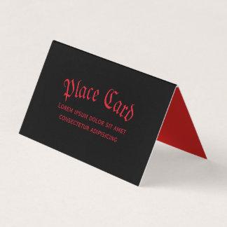 Tarjeta roja y negra gótica simple del lugar