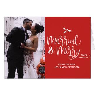 Tarjeta Rojo, casado y feliz, navidad, foto