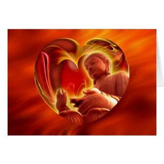 Tarjeta Rojo del fuego del corazón el | de BUDA