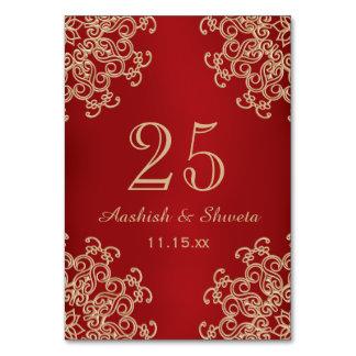 Tarjeta Rojo y número indio del boda del estilo del oro