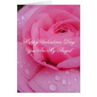 Tarjeta romántica color de rosa rosada del día de