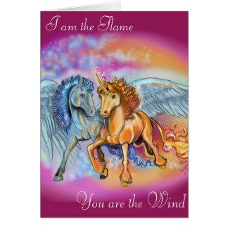 Tarjeta romántica de Pegaso del unicornio del