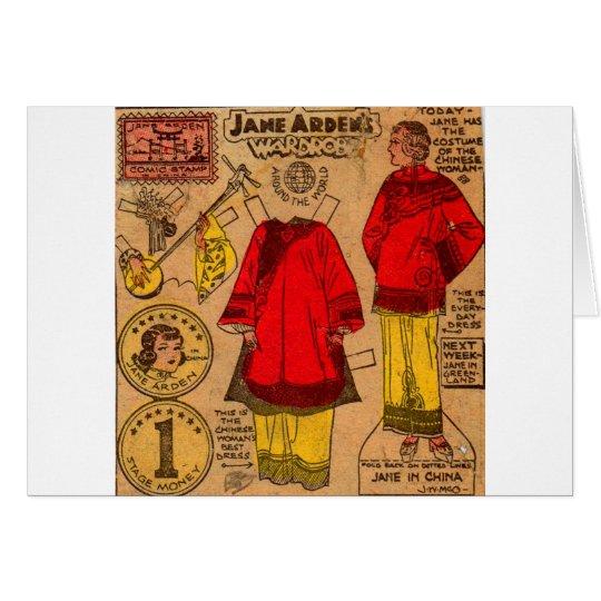 Tarjeta ropa de papel del chino de la muñeca de los años