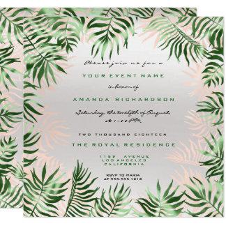 Tarjeta Rosa de hoja de palma verde tropical de los gris