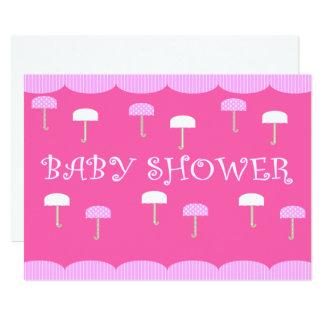 Tarjeta Rosa de los paraguas de la fiesta de bienvenida al