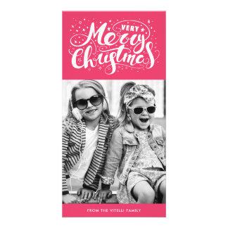 Tarjeta Rosa de Photocard el | de las Felices Navidad muy