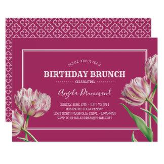 Tarjeta Rosa del brunch del cumpleaños de la flor del