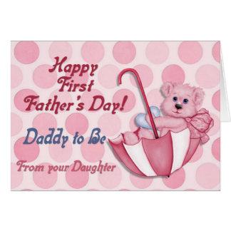 Tarjeta Rosa del oso del paraguas - padre a ser día de