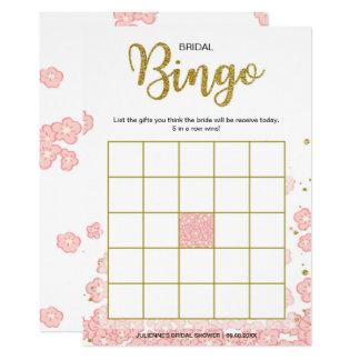 Tarjeta Rosa nupcial del bingo el | de la ducha y brillo