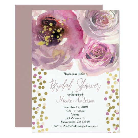 Tarjeta Rosa y ducha nupcial de la acuarela floral moderna