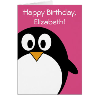 Tarjeta rosa y negro lindos del pingüino del dibujo